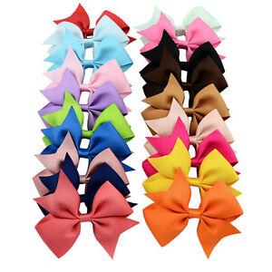 20PCs-Baby-10cm-Hair-Bow-Boutique-Girl-Alligator-Clips-Grosgrain-Ribbon-HeadJSE