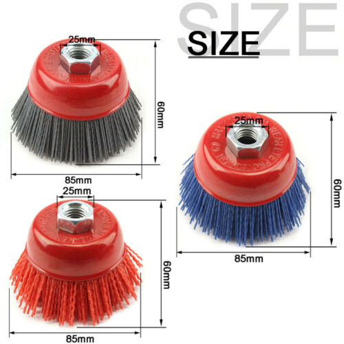"""4/"""" Cup Nylon Abrasive Wire Brush Polishing Wheel For Angle Grinder Rotary Tool"""