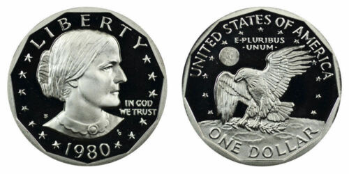 1980 S GEM BU PROOF SUSAN B ANTHONY DOLLAR BRILLIANT UNCIRCULATED COIN PF