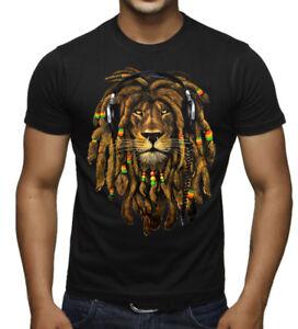 0cdd09a55c New Men's Dreadlocks Rasta Lion DJ Black T Shirt Jamaica Blunt ...