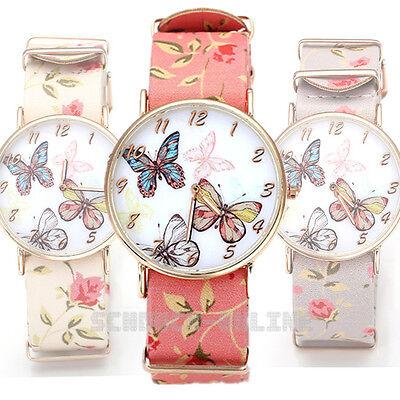 Modern Damenuhr Blume Doppelschicht Band Schmetterling Armbanduhr Armbandzuhr