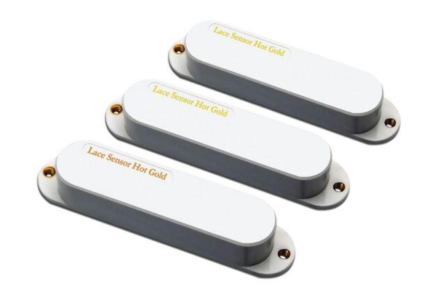 NEW Lace Sensor Hot Gold Strat PICKUP SET 3 PICKUPS White Fender Stratocaster