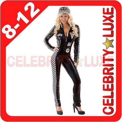 F1 Formula Racer Grand Prix Grid Girl Womens Fancy Dress Costume PVC Bodysuit