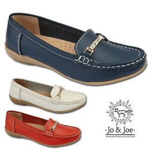 Ladies-Real-Leather-Slip-on-Loafer-Diamante-Moccasins-Casual-Womens-Wedge-Shoes