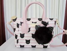 Luv Betsey Johnson Small Black Cat Crossbody Satchel Stripes Pink Bag NWT