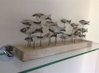 School Of Tin Fish On Rustic Distressed White Wooden Oblong Base / Plinth Gift