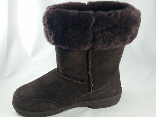 DEFECT Women's BEARPAW MEADOW SHORT Brown Suede Fur Wool Sheepskin Winter Boots