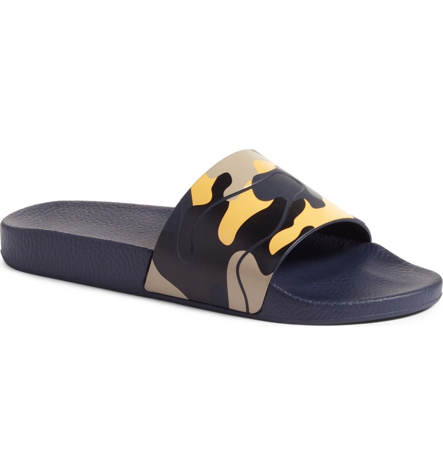 NIB NEW Valentino Garavani Uomo camouflage pool slide sandals navy/gold 7 8 9
