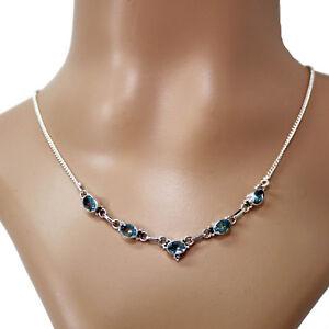 Blautopas-Collier-Silber-925-Kette-Halskette-Kette-Cutstone-Blau-Topas-TST
