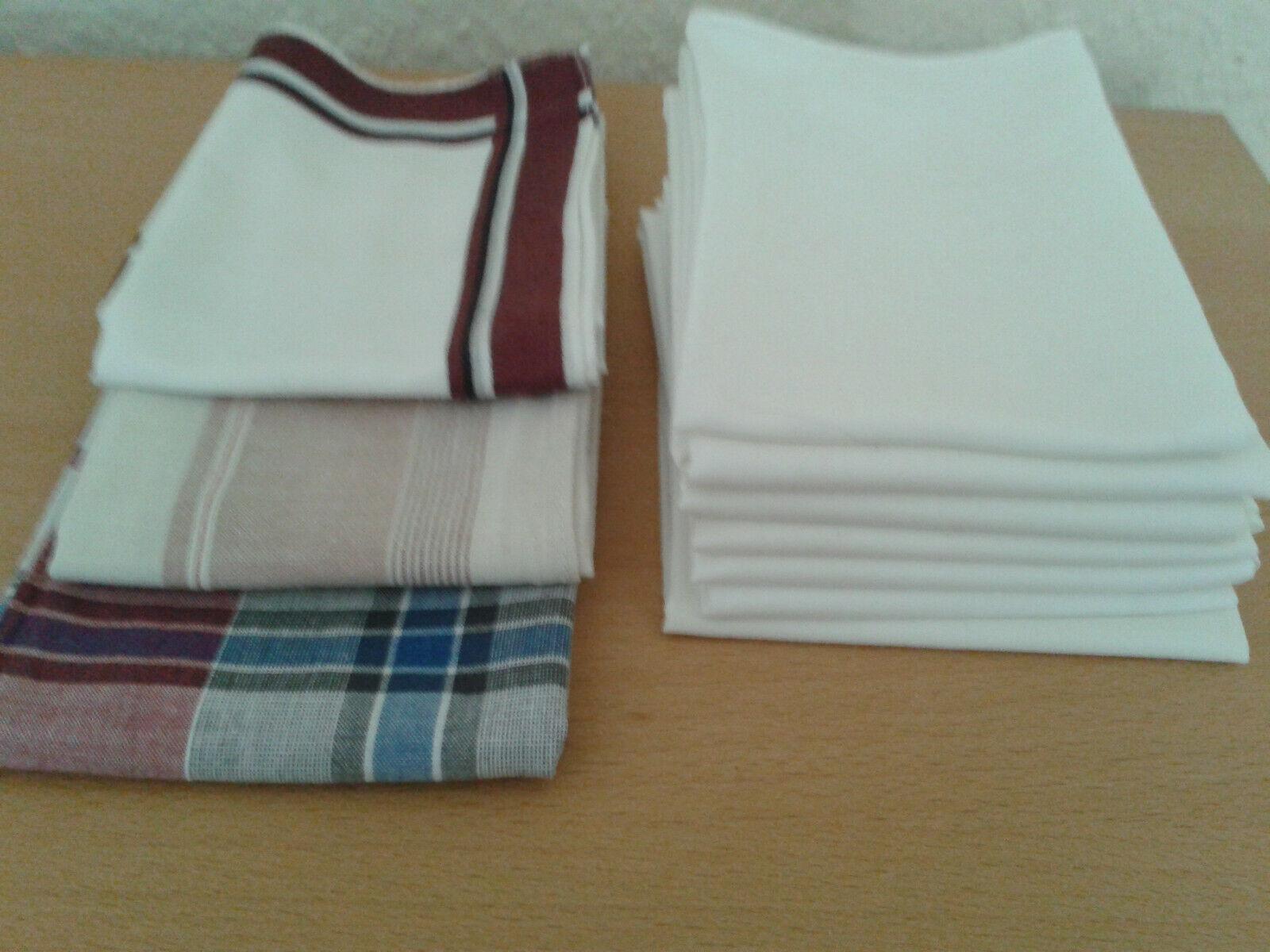 10 Handkerchiefs Fabric-Handkerchiefs approx 40 x 40cm Mens Handkerchiefs White