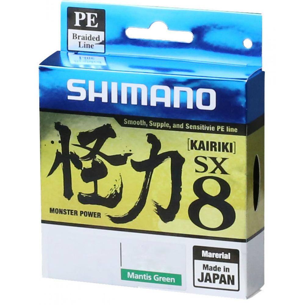 Geflochtene Leine Shimano kairiki PE 8X 0.250mm mantis grün 21KG 300mt