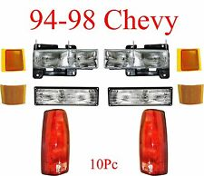 94 98 Chevy 10Pc Head Light, Tail Light, Parking & Side Amber Light Kit, Truck