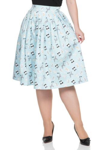 Sale Blue Wendy Dog Print Skirt VOODOO VIXEN Vintage 1950s SKA3301 Party.