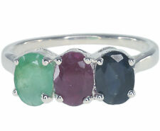 Emerald Ruby Sapphire Gemstone Sterling Silver Ring size O