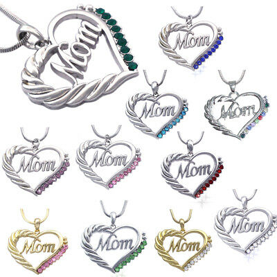 MOM Crystal Heart Pendant Necklace Chain Mothers Day Birthday Gift Multicolor