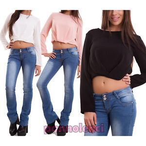 Maglia-donna-top-corto-maglietta-maniche-lunghe-velata-chiffon-nuova-CJ-2043