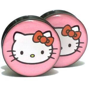 Pair-Acrylic-Ear-Plugs-Screw-Fit-Gauges-Flesh-Tunnels-Earrings-Pink-Hello-Kitty