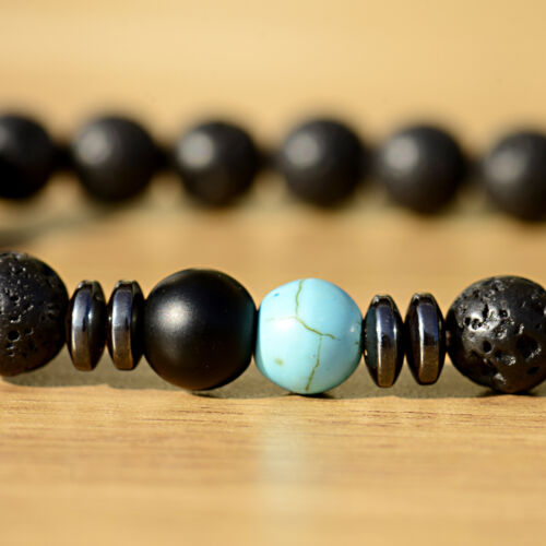 2Pcs His And Her Turquoise Rock Lava Onyx Reiki Stretch Promise Couples Bracelet