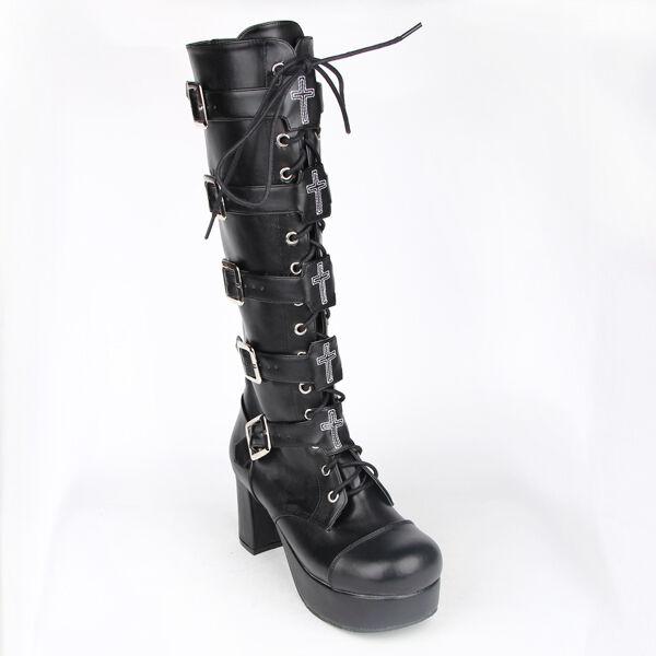 Schwarz Schwarz Schwarz Gothic Goth Steam-Punk Kreuz Damen-schuhe Plateau Stiefel Stiefel Kostüme 0364a5