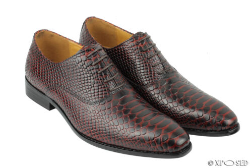 Mens Real Leather Maroon Snakeskin Print Smart Formal Italian Style Dress Shoes