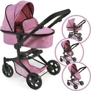 Bayer Chic 2000 Doll Carriage Mika 2in1 (jeans Pink) Poussette Poupée Buggy Doll
