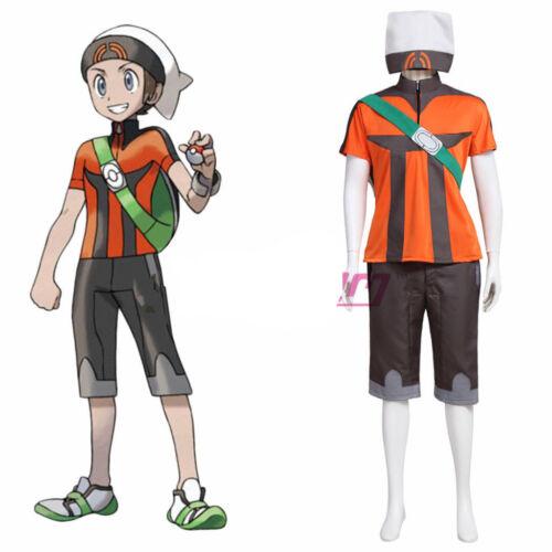 Hot! Pokemon Emerald Yuki Brendan Cosplay Costume Full Set custom made  HH.183