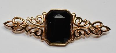 Vintage Firmado Park Lane Tono Dorado Negro Diamante Imitacion Broche In Short Supply Broches, Alfileres Y Pines