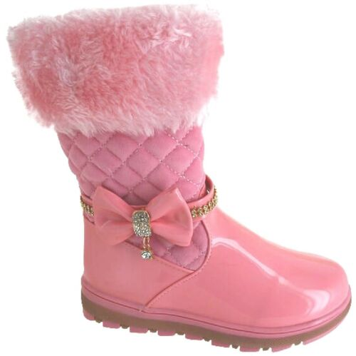 GIRLS WINTER FAUX FUR LINED DIAMANTE BOOTS KIDS COMFORT CASUAL SNOW SHOES SIZE