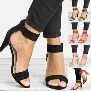 Women-Shoes-Ankle-Strap-Flat-Casual-Mid-Sandals-Chunky-Party-Beach-Casual-Size