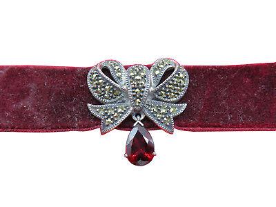 Judith Jack Sterling Silver Necklace Garnet Marcasite Velvet Choker 16 inch 865g