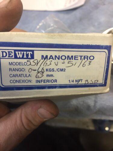 """DEWIT 55V//63V-51//63 PRESSURE GAUGE 2/"""" 0-60 PSI 1//4/"""" BSP INF 0-860 KG//CM2 BRASS"""