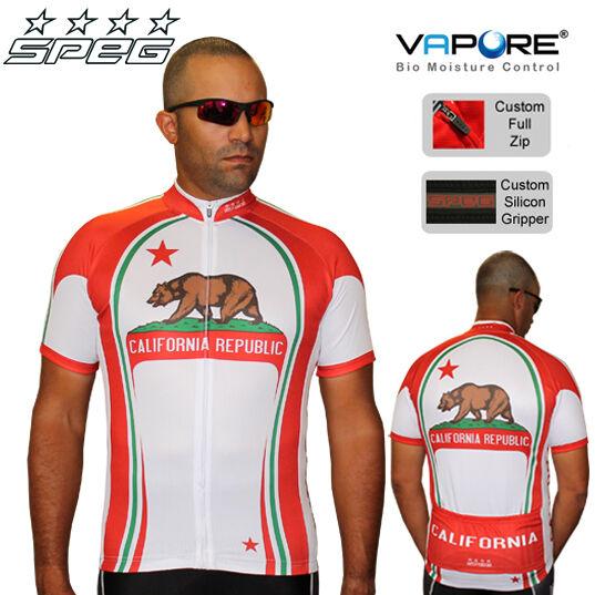 SPEG California  Herren Short Sleeve Cycling Jersey Full Zipper 100% Vapore Fabric