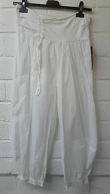 Womens Ladies New White Loose Fit Cropped Capri Cuffed Linen Harem Trouser/Pants