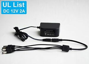 UL LIST DC 12V 2A Power Supply Adapter+1 to 4 Split Power Cable for CCTV Camera