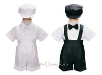 Baby Toddler Boys Black White Shorts Suit 4 Pc Set Outfit Easter Wedding 850