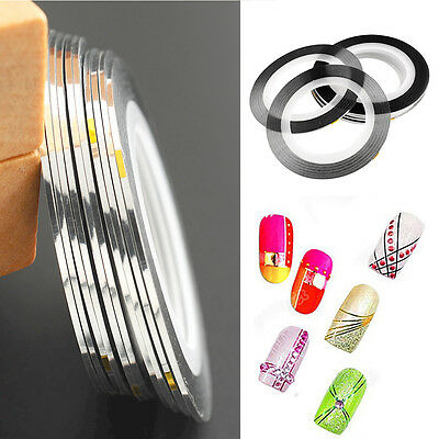 10Pcs Silver Nail Art Striping Line Sticker Strap Tape Rolls Manicure UV Gel