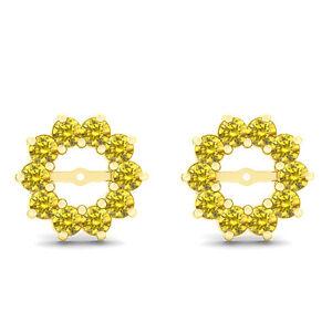 0.60 Carat Yellow Round Diamond Solitaire Stud Earring Jackets 14K Yellow Gold | EBay