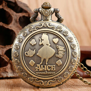 Alice in Wonderland Women Girl Lady Pocket Watch Flower Pendant Copper Cute Gift