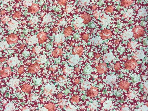 Metro Fat Quarters Vintage Retro Shabby Chic Floral Rosas Poli Algodón Tela Coser