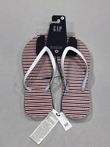 Gap Sandals Womens Size:8 Red White Blue Striped Casual Beach Style FlipFlop