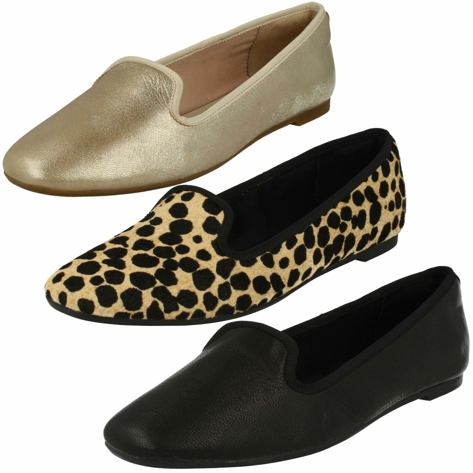 Clarks Chia Milly Black, Champagne Or Leaopard Leather Casual Slip On Pumps