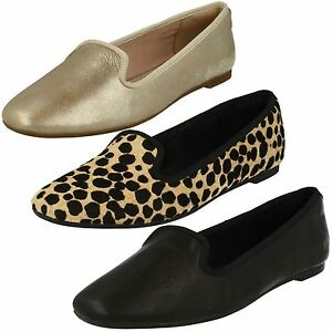 Clarks Chia Milly Negro color champán o Leopardo Cuero Casual Deslizable