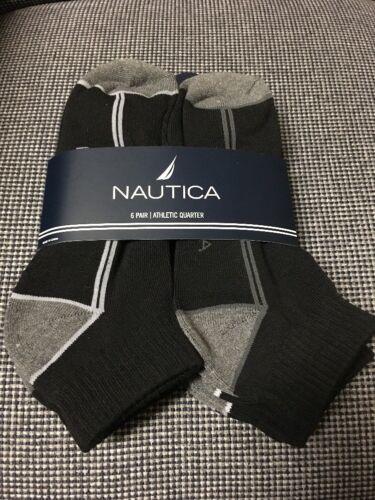 Shoe Size 6-12.5 Black//Gray Nautica Mens 6 Pack Quarter Crew Socks