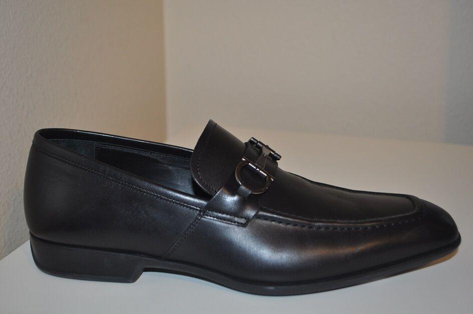 595 Salvatore Ferragamo Santino Bit Lofer  Slip On scarpe nero Leather Sz 8 uomini  prezzi bassissimi