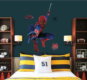 Cartoon Super Hero Spiderman Movie Wall Stickers Art Decals Kids - Superhero wall decals for kids rooms
