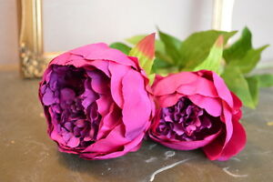 Double Large Purple Peonies Realistic Artificial Luxury Faux Silk