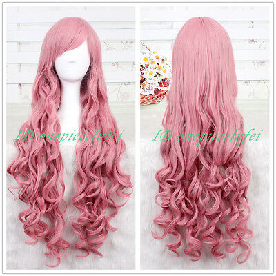 90cm Long Vocaloid LUKA Wave Curly Pink Anime Cosplay Wig CC25 +a wig cap