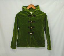 Gymboree Fall Forest Sz L 10-12 Girls Green Velour Jacket Coat Hood Fully Lined