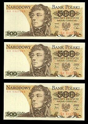 Poland P-145 500 Zlotych Year 1982 Uncirculated Banknote