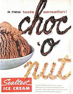 1954 Sealtest Ice Cream Vintage Print Ad Choc O Nut New Taste Sensation